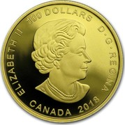 Canada 100 Dollars Frog Reveals a Gift 2018 ELIZABETH II 100 DOLLARS D∙G∙REGINA CANADA 2018 SB coin obverse