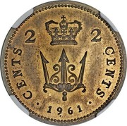 UK 2 Cents Elizabeth II (Decimal Pattern) 1961 KM# Pn140 CENTS 2 2 CENTS ∙ 1961 ∙ coin reverse