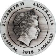 Australia 2 Dollars Kookaburra Antiqued 2018 ELIZABETH II AUSTRALIA 2 OZ 9999 AG 2018 2 DOLLARS coin obverse