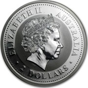 Australia 2 Dollars The Australian Kookaburra 1999 UNC KM# 445 ELIZABETH II AUSTRALIA ∙ 2 DOLLARS ∙ IRB coin obverse