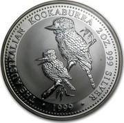 Australia 2 Dollars The Australian Kookaburra 1999 UNC KM# 445 THE AUSTRALIAN KOOKABURRA 2 OZ 999 SILVER ∙ *YEAR* ∙ P100 coin reverse