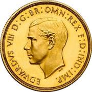 UK 2 Pounds Edward VIII Pattern 1937 Proof EDWARDVS VIII D: G: BR: OMN: REX F: D: IND: IMP coin obverse
