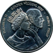 UK 25 Euro 1997 British Token Coins ELIZABETH II GOLDEN WEDDING 1997 PRINCE PHILIP coin obverse