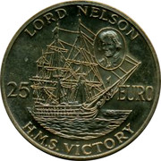 UK 25 Euro Lord Nelson (Gilt) 1996 LORD NELSON 25 EURO H.M.S.VICTORY coin reverse