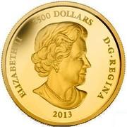 Canada 2500 Dollars The Caribou 2013 Proof KM# 1501 ELIZABETH II 2500 DOLLARS D∙G∙REGINA 2013 coin obverse