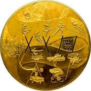 Russia 25000 Roubles History of the Olympic Movement 2014 Prooflike Y# 1500 РОССИЙСКАЯ ФЕДЕРАЦИЯ AU 999 3 КГ №___ СПМД 25000 РУБЛЕЙ 2014 Г. coin obverse