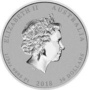 Australia 30 Dollars Australian Antarctic Territory - Emperor Penguin 2018 P UNC ELIZABETH II AUSTRALIA 1/3 OZ 9995 PT 2018 30 DOLLARS IRB coin obverse