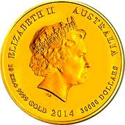 Australia 30000 Dollars (Year of the Horse) KM# 2109 ELIZABETH II AUSTRALIA 1O KILO 9999 GOLD 2014 30000 DOLLARS IRB coin obverse