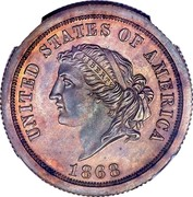 USA 5 Dollars (25 Francs) Pattern 1868 KM# Pn700 UNITED STATES OF AMERICA 1868 coin obverse