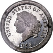 USA 5 Dollars (25 Francs) Pattern 1868 KM# Pn703 UNITED STATES OF AMERICA 1868 coin obverse
