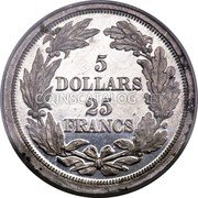 USA 5 Dollars (25 Francs) (Pattern) KM# Pn703 5 DOLLARS 25 FRANCS coin reverse