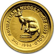 Australia 5 Dollars Australian Nugget 1994 THE AUSTRALIAN NUGGET 1/20OZ 9999 GOLD 1994 WHIPTAIL WALLABY coin reverse