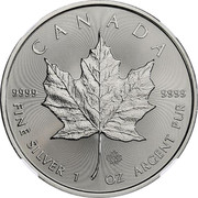 Canada 5 Dollars Maple leaf 2018 KM# 1601 CANADA 9999 9999 FINE SILVER 1 OZ ARGENT PUR coin reverse