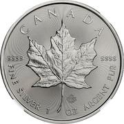 Canada 5 Dollars Maple leaf 2018 KM# 1601 CANADA 9999 9999 FINE SILVER 1 OZ ARGENT PUR coin reverse