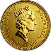 Australia 5 Dollars Nugget - Nailtailed Wallaby 1993 ELIZABETH II AUSTRALIA 5 DOLLARS RDM coin obverse