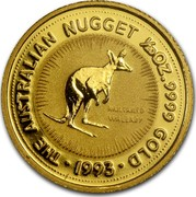 Australia 5 Dollars Nugget - Nailtailed Wallaby 1993 THE AUSTRALIA NUGGET 1/20OZ. 9999 GOLD 1993 NAILTAILED WALLABY coin reverse