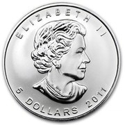 Canada 5 Dollars Timber Wolf 2011 KM# 1052 ELIZABETH II 5 DOLLARS 2011 coin obverse