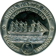 UK 5 ECU Mayflower 1995 UNITA TUAETUR DEUS S. S. GREAT BRITAIN 1843 EUROPE EUROPA 5 ECU coin reverse