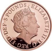 UK 5 Pounds Queen Elizabeth II Sapphire Coronation 2018 Proof D G REG FID DEF 5 POUNDS ELIZABETH II coin obverse