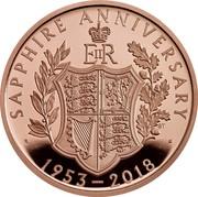 UK 5 Pounds Queen Elizabeth II Sapphire Coronation 2018 Proof SAPPHIRE ANNIVERSARY 1953 - 2018 coin reverse