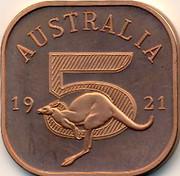 Australia 5 Shillings George V 5 Shilling Pattern 1921 X# 3b AUSTRALIA 19 5 21 coin reverse