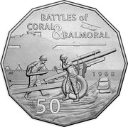 Australia 50 Cents Coral and Balmoral - Battle of the Fire Support Bases 2018 UNC BATTLES OF CORAL & BALMORAL 1968 50 MB coin reverse
