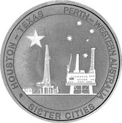 Australia 50 Cents Houston-Perth Sister Cities 2014 P UNC HOUSTON - TEXUS PERTH - WESTERN AUSTRALIA WR P SISTER CITIES coin reverse