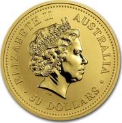 Australia 50 Dollars Australian Nugget 2001 ELIZABETH II AUSTRALIA 50 DOLLARS IRB coin obverse