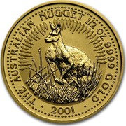 Australia 50 Dollars Australian Nugget 2001 THE AUSTRALIAN NUGGET 1/2 OZ. 9999 GOLD 2001 coin reverse