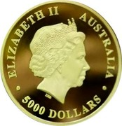 Australia 5000 Dollars The Australian Trilogy - Kookaburra 2017 P Proof ∙ ELIZABETH II AUSTRALIA ∙ IRB 5000 DOLLARS coin obverse