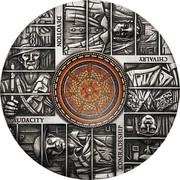 Australia 8 Dollars World War I Centenary - Hall of Memory 2018 P Antique AUDACITY DEVOTION COMRADESHIP CHIVALRY P LB coin reverse