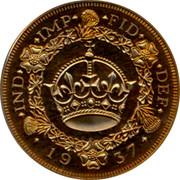 UK Crown 1937 Pre-Decimal coinage IND IMP FID DEF 19 37 coin reverse