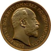 UK Crown Edward VII Gold Pattern ND EDWARDVS VII D:G BRITT:OMN:REX F:D:IND:IMP:MDCDX coin obverse