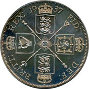 UK Crown George VI Pattern 1937 BRITT: REX: 19 37 FID: DEF: coin reverse
