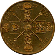 UK Crown George VI Pattern 1937 BRITT: REX: 1937 FID: DEX: coin reverse