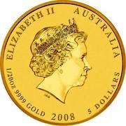 Australia Dollars Year of the Rabbit 2008 ELIZABETH II AUSTRALIA 1/20OZ 9999 GOLD 2008 5 DOLLARS IRB coin obverse