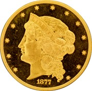 USA Fifty Dollars Half Union Pattern 1877 Proof; 1 Surviving LIBERTY B 1877 coin obverse