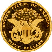 USA Fifty Dollars Half Union Pattern 1877 Proof; 1 Surviving UNITED STATES OF AMERICA IN GOD WE TRUST FIFTY DOLLARS coin reverse