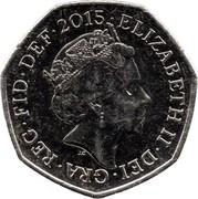 UK Fifty Pence (Royal Shield - Elizabeth II (5th portrait)) KM# 1337 ELIZABETH II∙DEI∙GRA∙REG∙FID∙DEF∙2015∙ J.C coin obverse