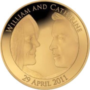 UK Five Pounds Royal Wedding 2011 Proof WILLIAM AND CATHERINE 19 APRIL 2011 coin reverse