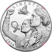 USA Half Dollar Breast Cancer Awareness 2018 Proof LIBERTY 2018 IN GOD WE TRUST coin obverse
