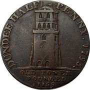 UK Half Penny Dundee Ship Token 1795 DUNDEE HALF PENNY 1795 OLD TOWER FOUNDED 1189 coin obverse