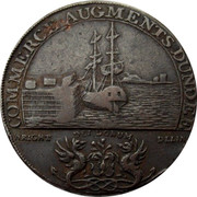 UK Half Penny Dundee Ship Token 1795 COMMERCE AUGMENTS DUNDEE WRIGHT DEI DONUM DELIM coin reverse