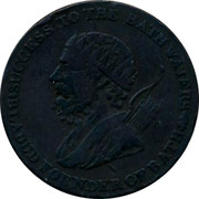 UK Halfpenny Braziery & Cutlery Conder Token 1794 BLADUD FOUNDER OF BATH. SUCCESS TO THE BATH WATERS. coin obverse