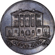UK Halfpenny Chelmsford Essex Token (King & Constitution) 1794 SHIRE HALL coin obverse