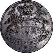 UK Halfpenny Chelmsford Essex Token (King & Constitution) 1794 KING AND CONSTITUTION 1794 coin reverse