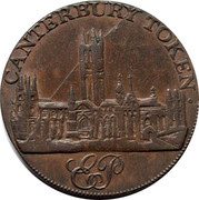 UK Halfpenny Edward Pillow's Canterbury Cathedral 1795 CANTERBURY TOKEN coin obverse