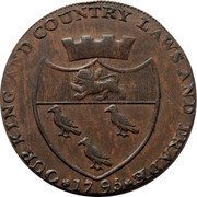 UK Halfpenny Edward Pillow's Canterbury Cathedral 1795 OUR KING AND COUNTRY LAWS AND TRADE 1795 coin reverse