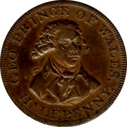 UK Halfpenny Middlesex Prince of Wales Condor Token ND GEO PRINCE OF WALES. HALFPENNY. coin obverse