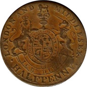 UK Halfpenny Middlesex Prince of Wales Condor Token ND LONDON AND MIDDLESEX. HALFPENNY ICU DIF coin reverse